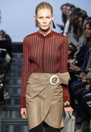 Model on the catwalk at the JW Anderson show, London Fashion Week 2015.