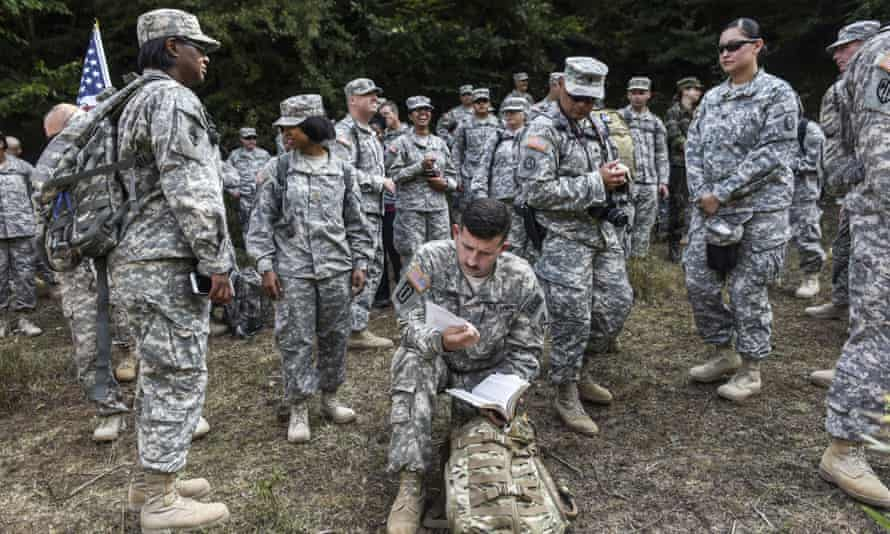 US soldiers from the Nato peacekeeping mission in Kfor, which has remained in Kosovo since 1999.