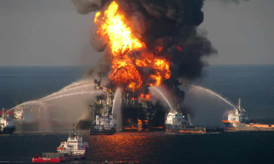 Fire boats battle the blazing remnants of the off-shore oil rig Deepwater Horizon in the Gulf of Mexico on April 21, 2010 near New Orleans, Louisiana.