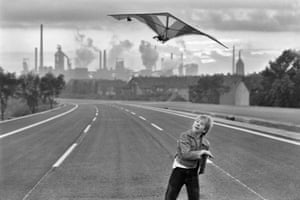 Autobahn A42 before opening, with August Thyssen steel plant, Bruckhausen, Duisburg, West Germany, 1979