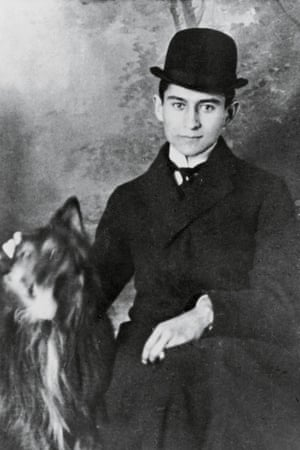 Franz Kafka, with a dog, in 1905.
