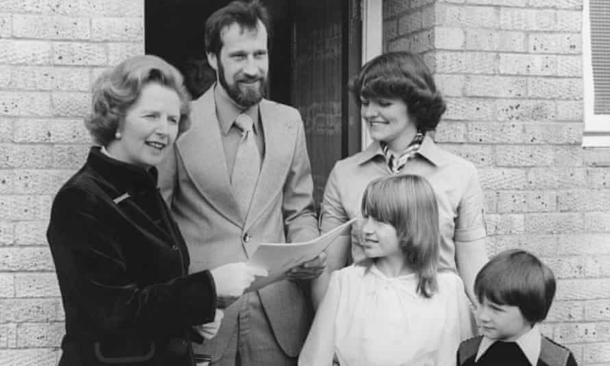 The King family of Milton Keynes receive the deeds to their council house from Margaret Thatcher