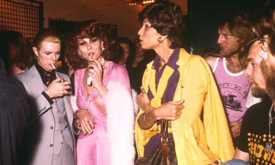 David Bowie (far left) at New York's Studio 54 nightclub in 1976.