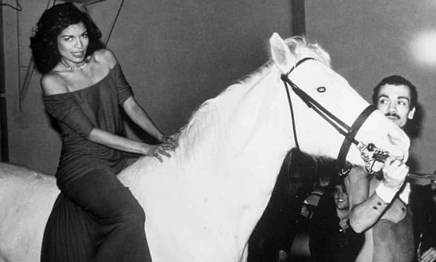 Giddy-up … Bianca Jagger on a white horse at Studio 54 in 1977.