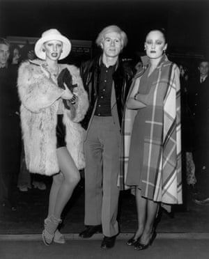Andy Warhol with Donna Jordan (left) and Jane Forth in the 1970s.