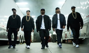Straight ahead … from left, Aldis Hodge as MC Ren, Neil Brown, Jr as DJ Yella, Jason Mitchell as Eazy-E, O'Shea Jackson, Jr as Ice Cube and Corey Hawkins as Dr Dre.