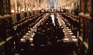 Pupils filling the Great Hall of Hogwarts School of Witchcraft in Harry Potter and the Philosopher's Stone.