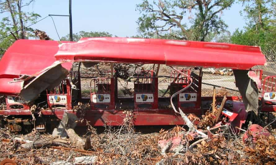 A City Park train carriage after the 2005 storm.