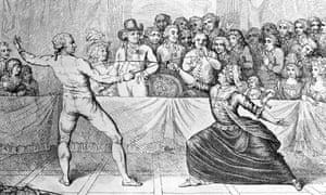 """The """"Black Mozart"""" Joseph Bologne, Le Chevalier de Saint Georges takes part in a fencing match with the cross-dressing French secret agent Charles d'Eon de Beaumont."""