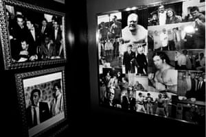 Photos of The Kray twins, Lennie McLean and other notorious underworld figures on the wall at the Reunion Jacques pub in Twickenham, West London