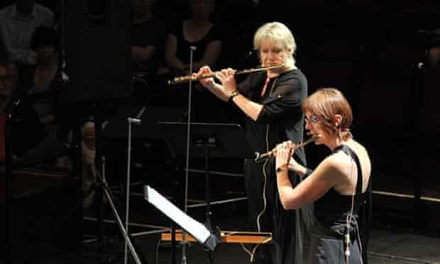 Sophie Cherrier, right, leads the flutes in Boulez's '… explosante-fixe …'