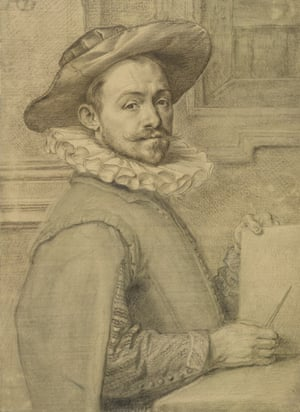 Self-portrait holding a copper plate, c1589 by the 'bafflingly underrated' Hendrik Goltzius.