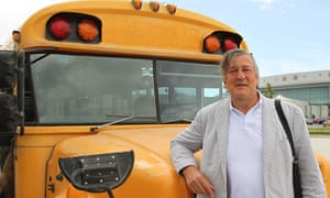 Have 'workhorse' bus, will travel … Stephen Fry in Central America. Photograph: ITV