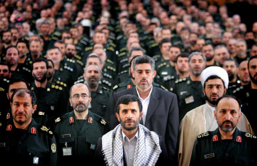 Iranian president Mahmoud Ahmadinejad with commanders from the Basij militia in Tehran in 2006.