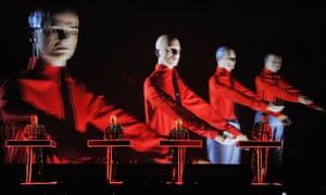 Ralf Hutter, Henning Schmitz, Fritz Hilpert and Stefan Pfaffe perform during the Kraftwerk – Retrospective 1 2 3 4 5 6 7 8, Autobahn (1974) at MoMA on 10 April 2012.