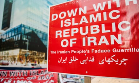 27 Aug 2015, Montreal, Quebec, Canada --- Montreal, Canada. 27th August 2015 -- A sign reads 'Down with Islamic republic of Iran' as a group of Iranians rally to protest the Iranian big budget movie