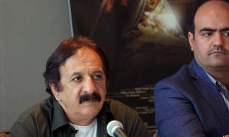 Majid Majidi speaking at a press conference for the film.