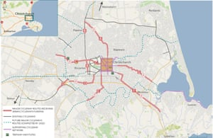 Proposed Christchurch cycle ways