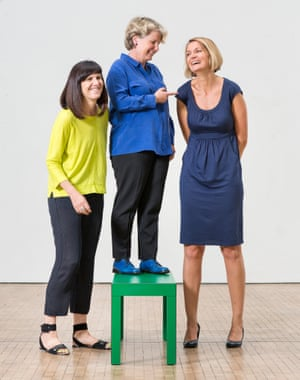 Founders of the Women's Equality party, left to right, Catherine Mayer and Sandi Toksvig, with new leader Sophie Walker. Pictured at Central Saint Martins.