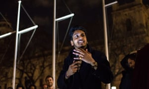 Ahir Shah performing live at Parliament Square on 5 May as part of the Occupy anti-capitalist movement.