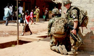 French soldiers on patrol in the Central African Republic.