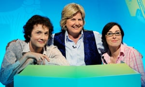 Sandi Toksvig as host of TV game show What the Dickens? with Chris Addison and Sue Perkins.