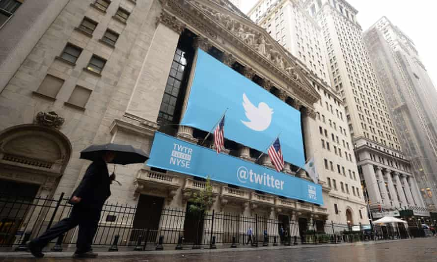 Great solution, bad investment? A Twitter banner adorns the front of the New York Stock exchange