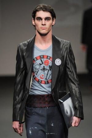 RJ Mitte on the catwalk for Vivienne Westwood.