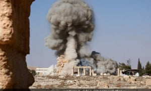 A photo released by Isis shows the detonation of the Temple of Baalshamin.