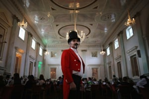 The Mad Hatter, Trevor Wilson, presides over The Mad Hatters Tea Party during the Asylum Steampunk festival