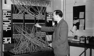 28th May 1951:  A worker operates the switchboard at the Central Telegraph Station in Electra House, London, the largest telegraph station in the world.