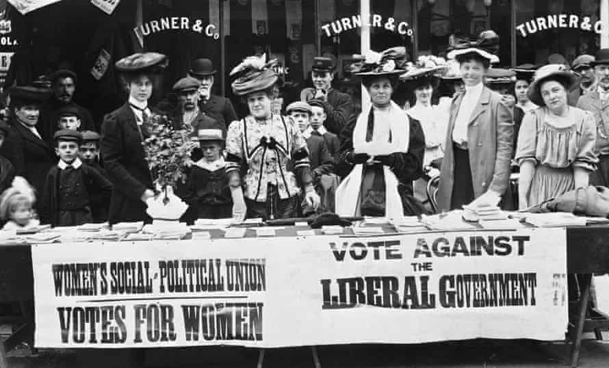 Suffragettes campaigning in London during a by-election in 1910.