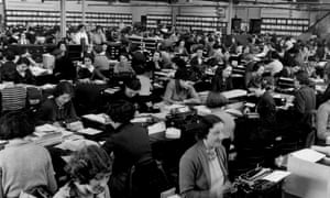 Typing away: a 1950s office in Aintree, Liverpool.