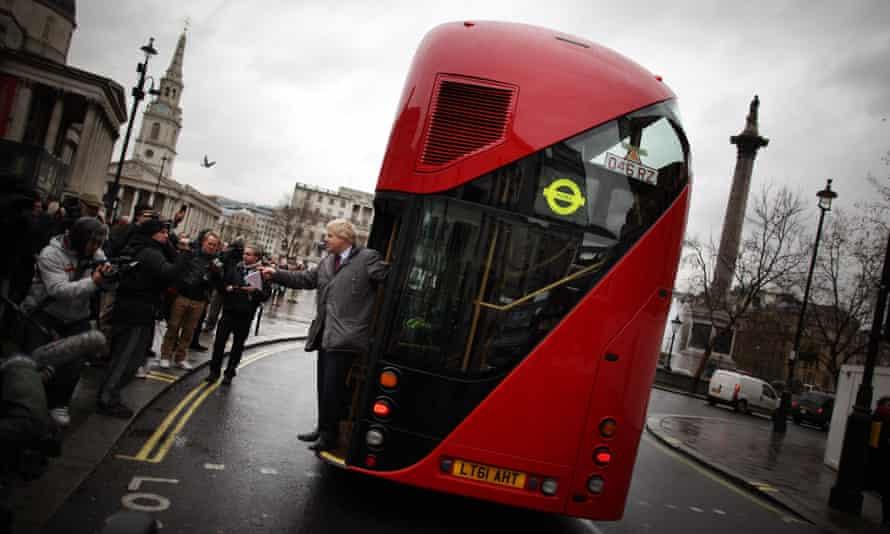 Boris Johnson on a prototype of the new Routemaster