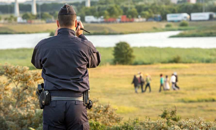 A French gendarme films the migrants who