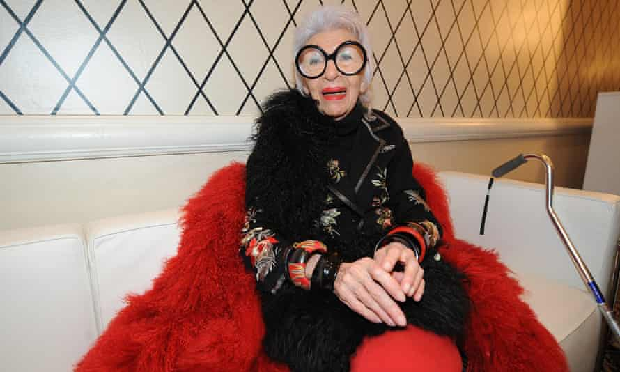 Iris Apfel at the HSN Fashion Week Lounge at the Empire Hotel, New York, 2014