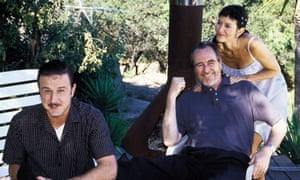 David Arquette, Wes Craven and Courteney Cox on the set of Scream 3.