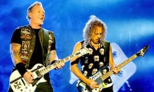 James Hetfield and Kirk Hammett of Metallica perform on day three of the 2015 Leeds festival.