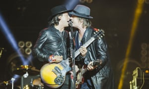 Carl Barat and Pete Doherty of the Libertines at the Leeds festival.