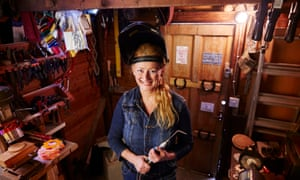 Annemarie Fitzsimons-Keogh, managing director of  Awards 4 All Occasions, in her shed workshop in Eggleston, County Durham.