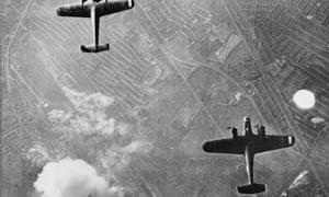 Two Dornier 17 bombers over West Ham, London, on 7 September 1940.