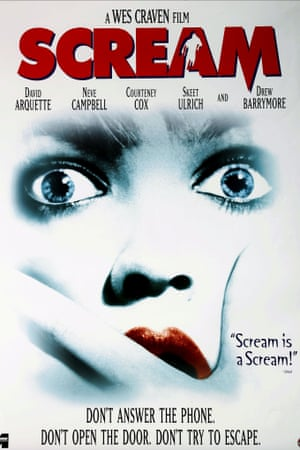 A poster for Scream, 1996.