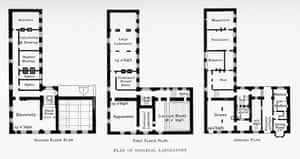 Black and white architects' floor plan of the Cavendish laboratory, an L-shaped plan.  Rooms are given simple designations, e.g. 'Electricity' on the second floor, 'Lecture Room' on the first, and 'Pendulums' on the ground floor.