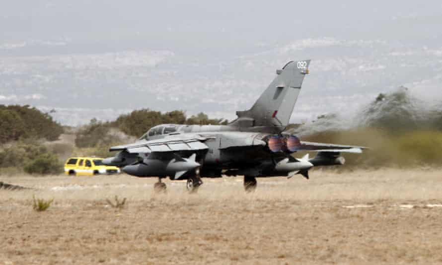 A Tornado GR4 fighter jet taking off from the RAF Akrotiri airbase near Limassol.