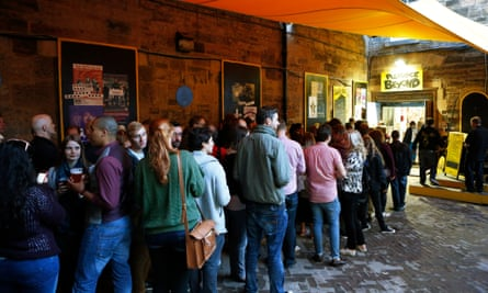 Fringe customers queue at the Pleasance Beyond, one of the Pleasance's 23 performance spaces.