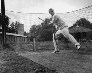 The Duke of Edinburgh batting in the nets in 1947