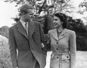 Philip and the Queen enjoying a walk during their honeymoon at Broadlands, Romsey, in Hampshire