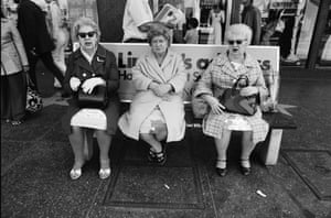 Ave Pildad.  Hollywood Blvd. Bus Bench, 3 Old Ladies, 1974.