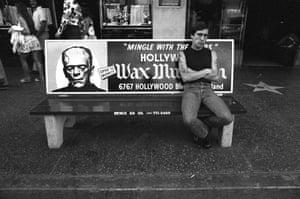 Ave Pildas. Hollywood Blvd. Bus Bench, Frankenstien, 1974.