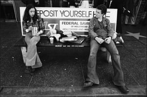 Ave Pildas. Hollywood Blvd. Bus Bench, Teenagers, 1974.